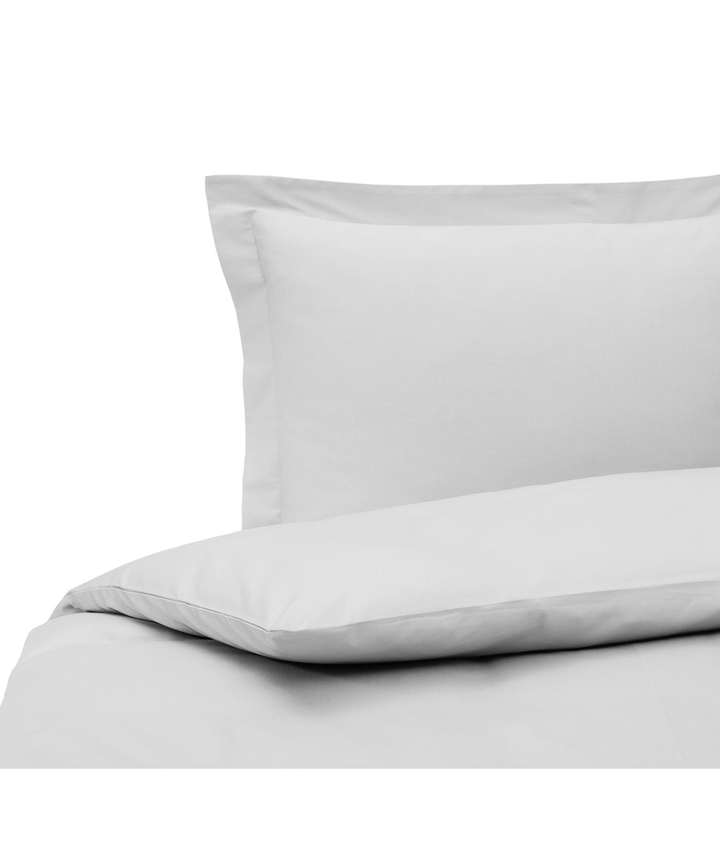 Parure copripiumino in raso di cotone grigio Premium, Tessuto: raso, leggermente lucido, Grigio chiaro, 155 x 200 cm