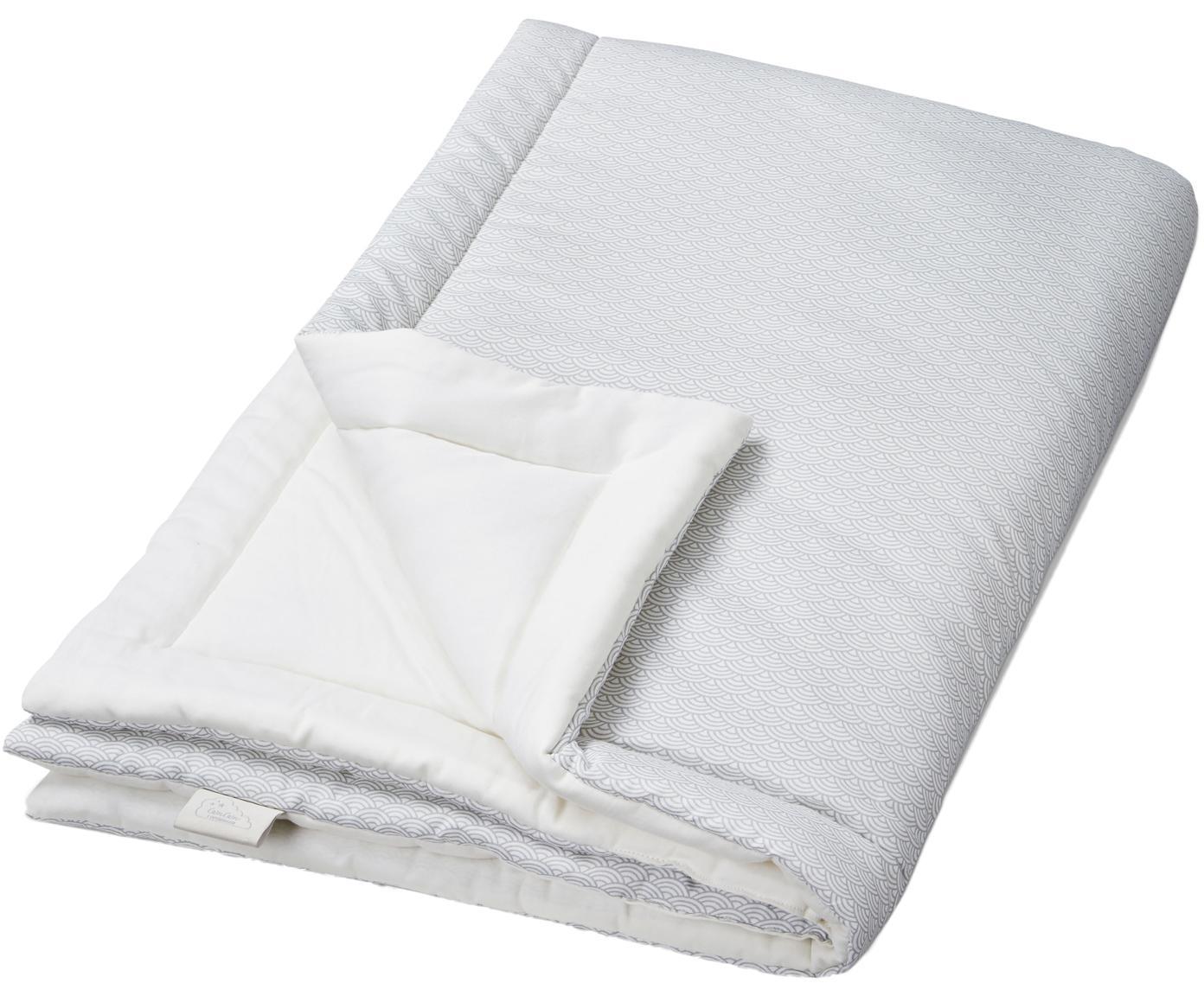 Cubrecolhón bebé Wave, Exterior: algodón orgánico, Gris, blanco, An 90 x L 120 cm