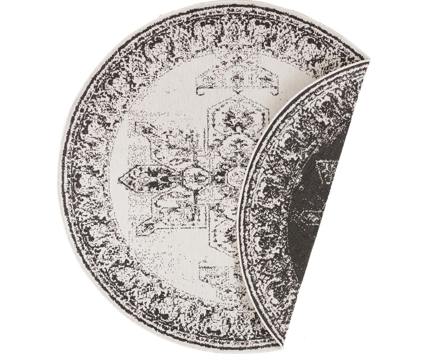 Rond dubbelzijdig in- en outdoor vloerkleed Borbon in vintage stijl, Polypropyleen, Zwart, crèmekleurig, Ø 200 cm