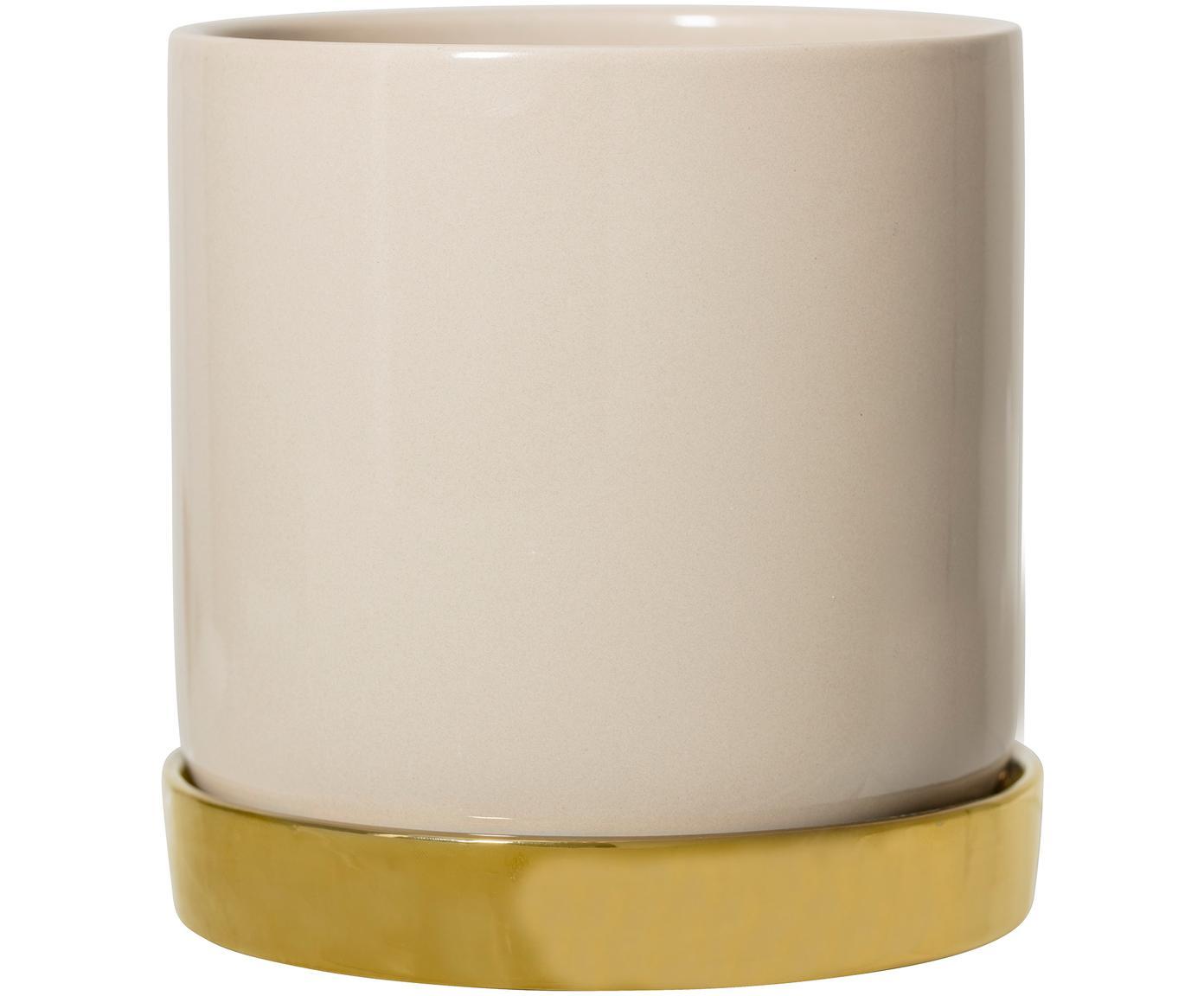 Plantenpot Elin, Keramiek, Pot: beige. Onderzetter: goudkleurig, Ø 14 x H 14 cm
