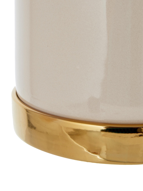 Übertopf Elin aus Steingut, Steingut, Topf: BeigeUntersetzer: Gold, Ø 14 x H 14 cm