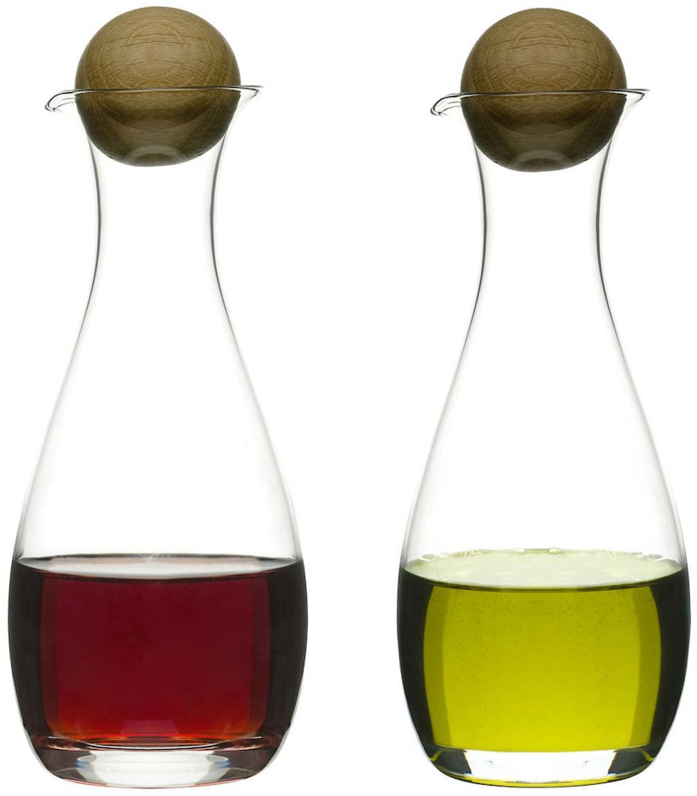 Aceitera y vinegrera de vidrio soplado Eden, Transparente, roble, Ø 8 x Al 19 cm