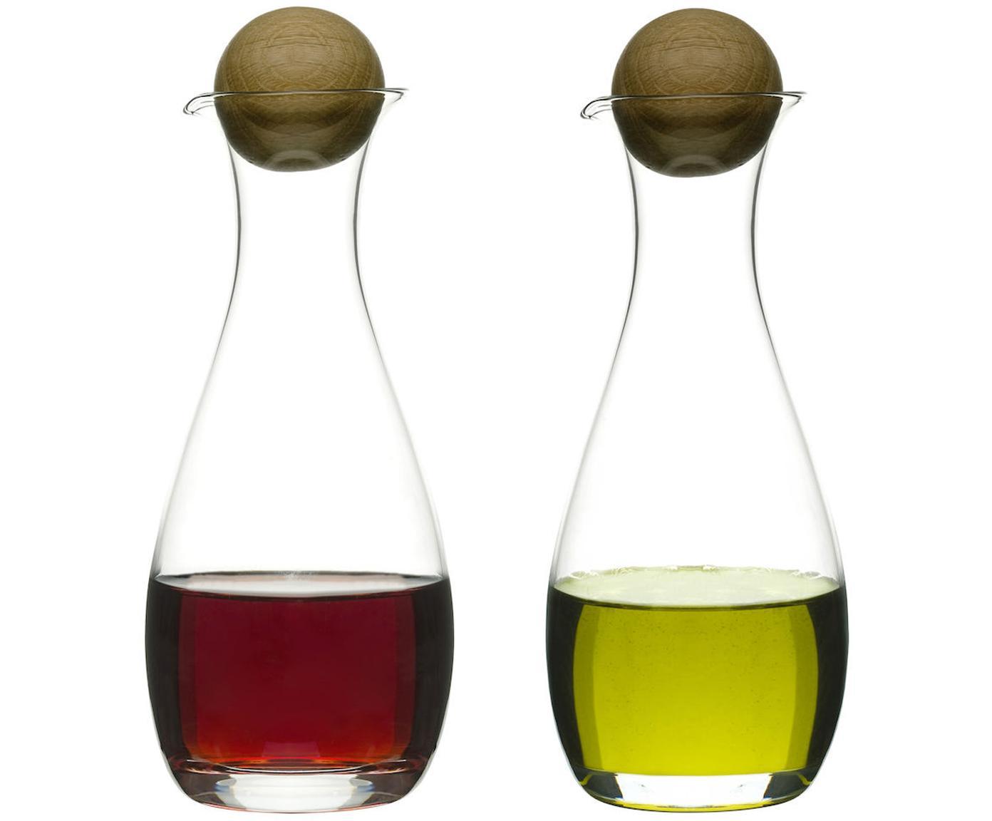 Mondgeblazen azijn- en olie-dispenser Eden, 2-delig, Mondgeblazen glas, eikenhout, Transparent, eikenhoutkleurig, Ø 8 x H 19 cm