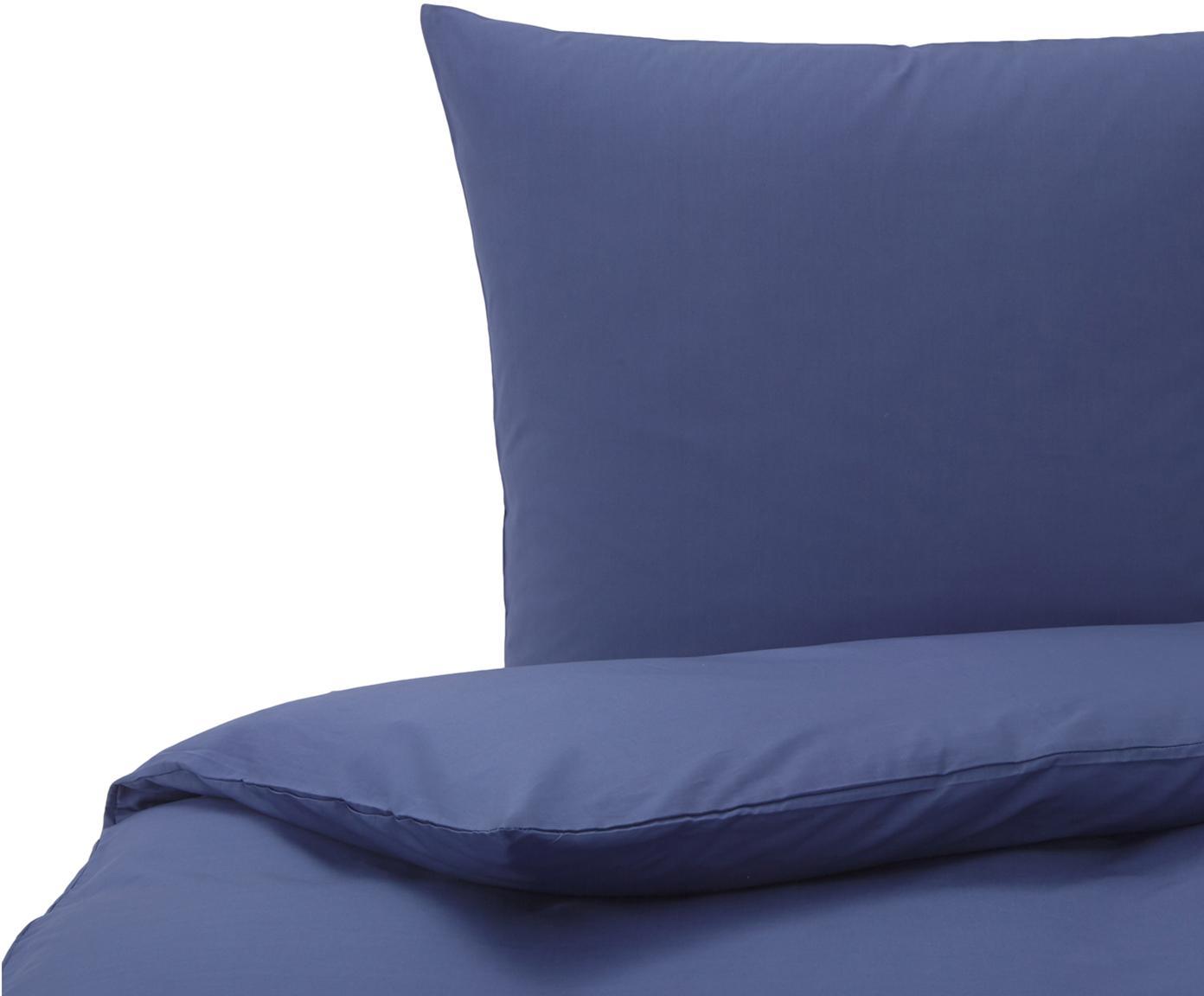 Baumwoll-Bettwäsche Weekend in Dunkelblau, 100% Baumwolle Bettwäsche aus Baumwolle fühlt sich auf der Haut angenehm weich an, nimmt Feuchtigkeit gut auf und eignet sich für Allergiker., Dunkelblau, 135 x 200 cm + 1 Kissen 80 x 80 cm