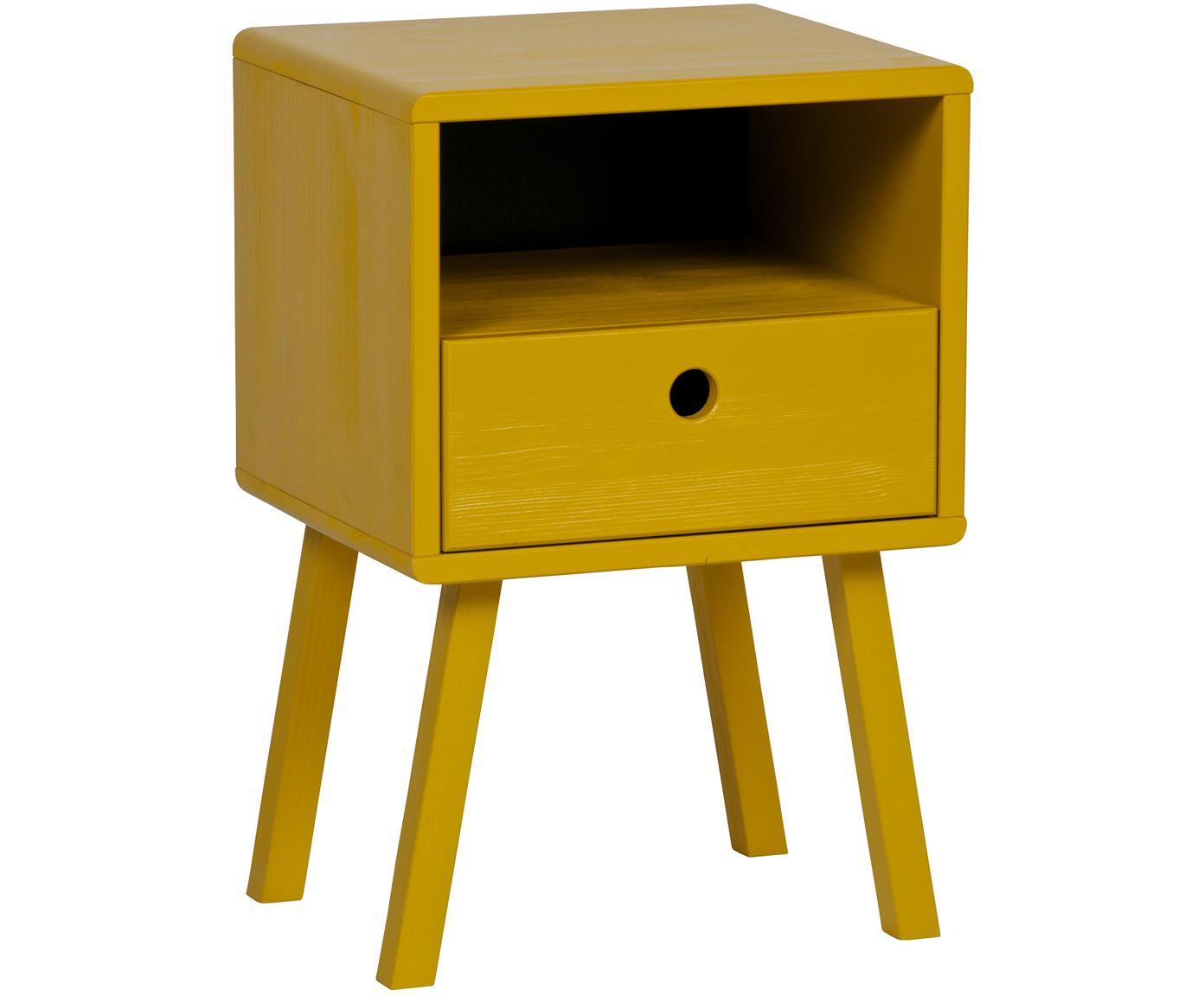 Comodino in giallo senape con cassetto Sammie, Legno di pino spazzolato e verniciato, Giallo senape, Larg. 35 x Alt. 53 cm