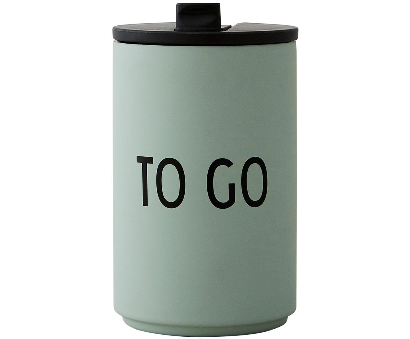 Design Coffee-to-go-Becher Favourite TO GO mit Schriftzug, Edelstahl, beschichtet, Grün, Ø 8 x H 13 cm