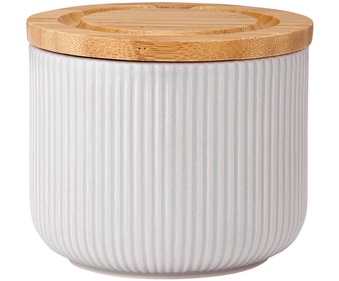 Aufbewahrungsdose Stak Groove mit Rillenstruktur, Dose: Keramik, Deckel: Bambusholz, Silikon, Grau, Ø 10 x H 9 cm
