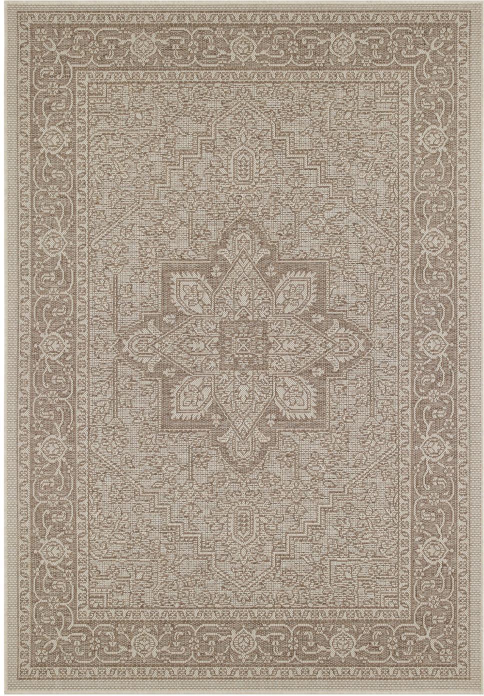 In- & Outdoor-Teppich Anjara im Vintage Style, 100% Polypropylen, Taupe, Beige, B 140 x L 200 cm (Größe S)