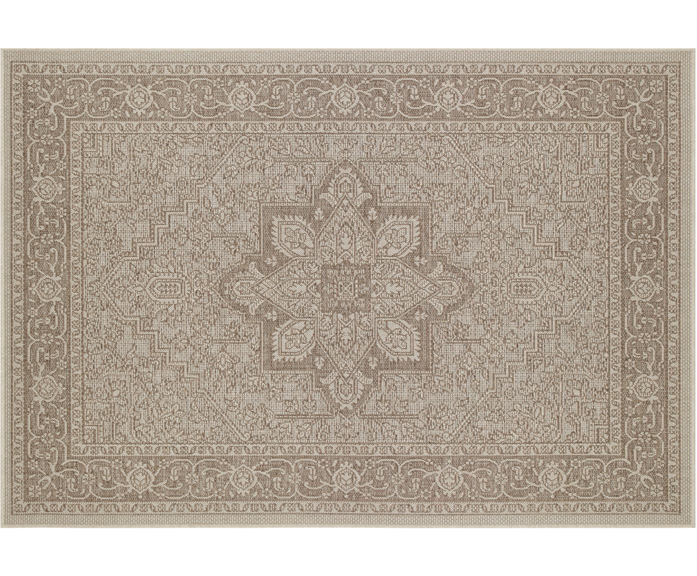 In- & outdoor vloerkleed Anjara in vintage look, Polypropyleen, Taupe, beige, B 140 x L 200 cm (maat S)
