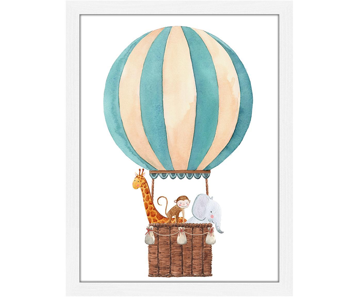Oprawiony druk cyfrowy Balloon with Animals, Biały, wielobarwny, S 33 x W 43 cm