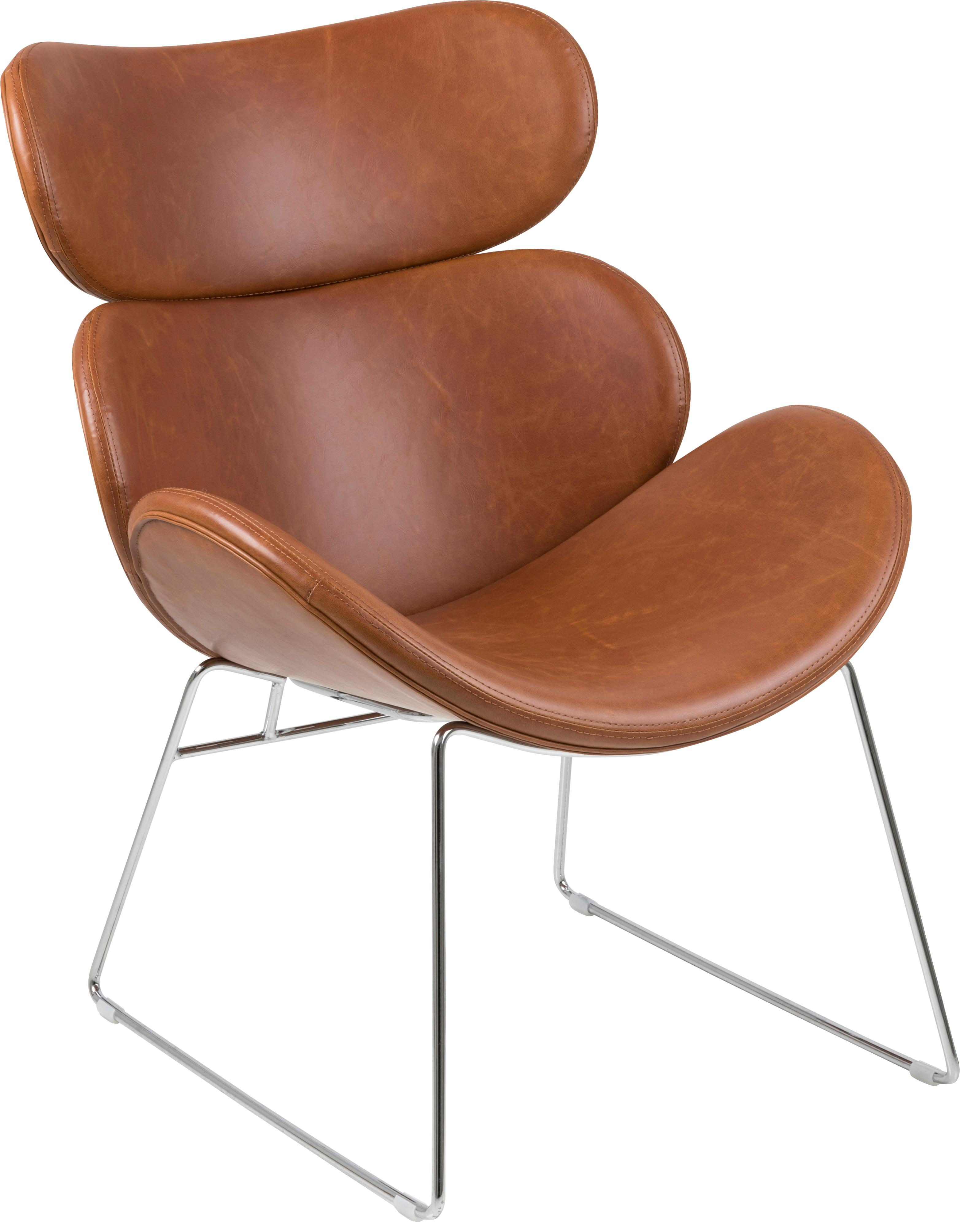 Sillón de cuero sintético Cazar, estilo moderno, Tapizado: cuero sintético (poliuret, Estructura: metal cromado, Coñac, cromo, An 69 x F 79 cm