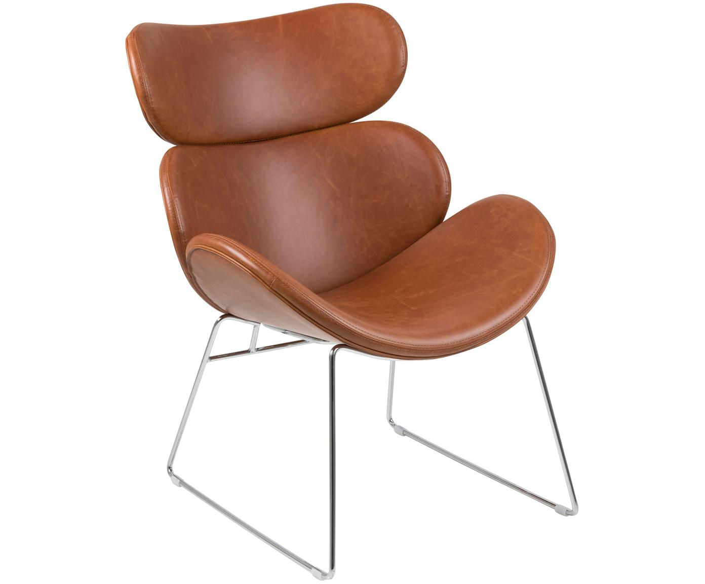Moderne loungefauteuil Cazar van kunstleer, Bekleding: kunstleer (polyurethaan), Frame: verchroomd metaal, Cognackleurig, chroomkleurig, B 69 x D 79 cm