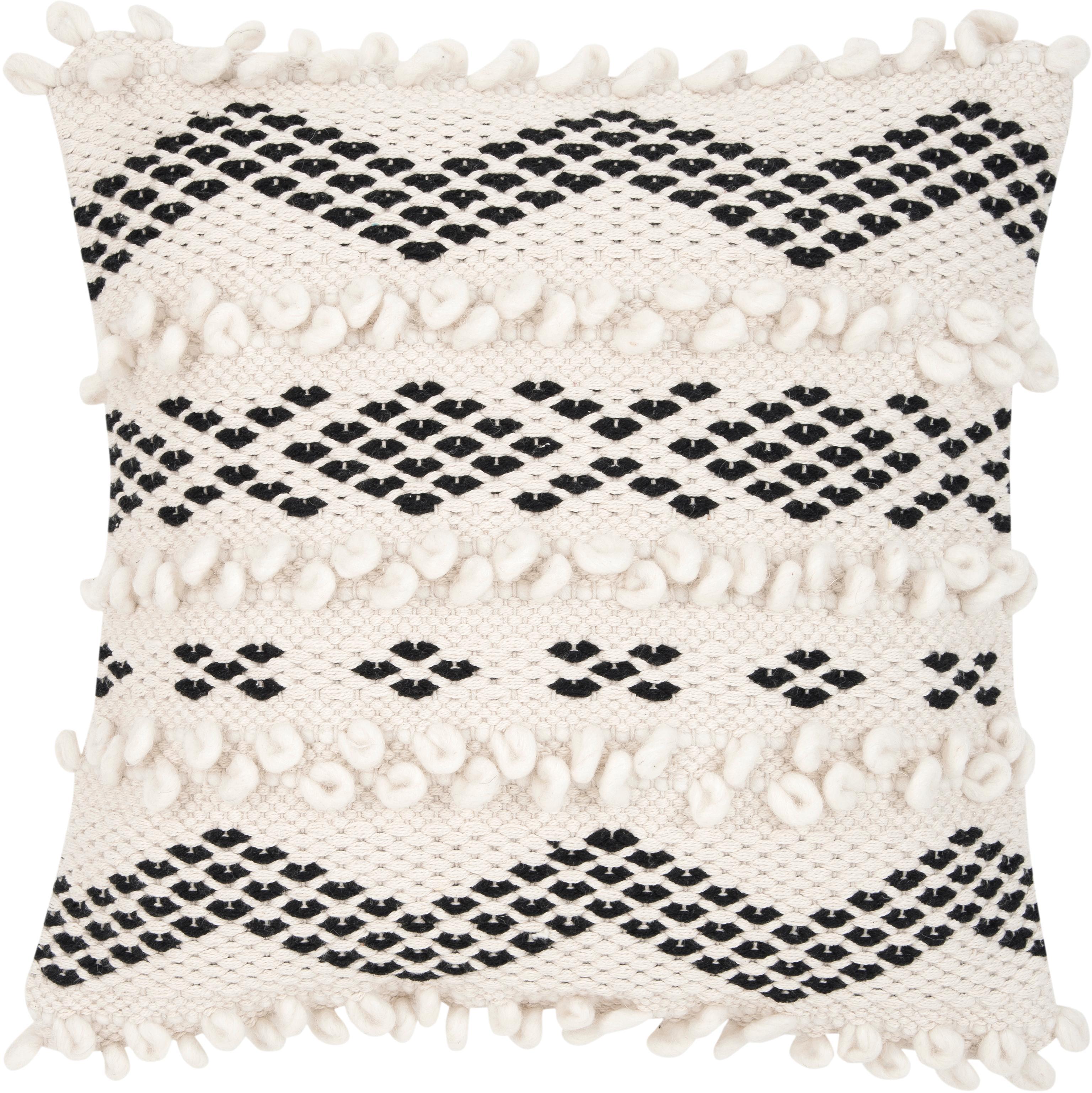 Poszewka na poduszkę boho Paco, 80% bawełna, 20% poliester, Ecru, czarny, S 45 x D 45 cm