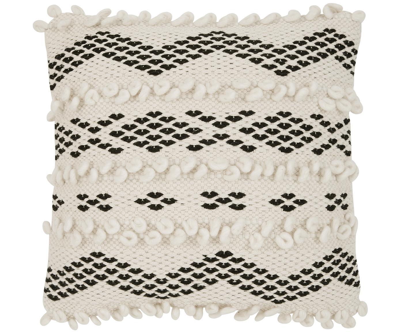 Funda de cojín Paco, estilo boho, 80%algodón, 20%poliéster, Crudo, negro, An 45 x L 45 cm
