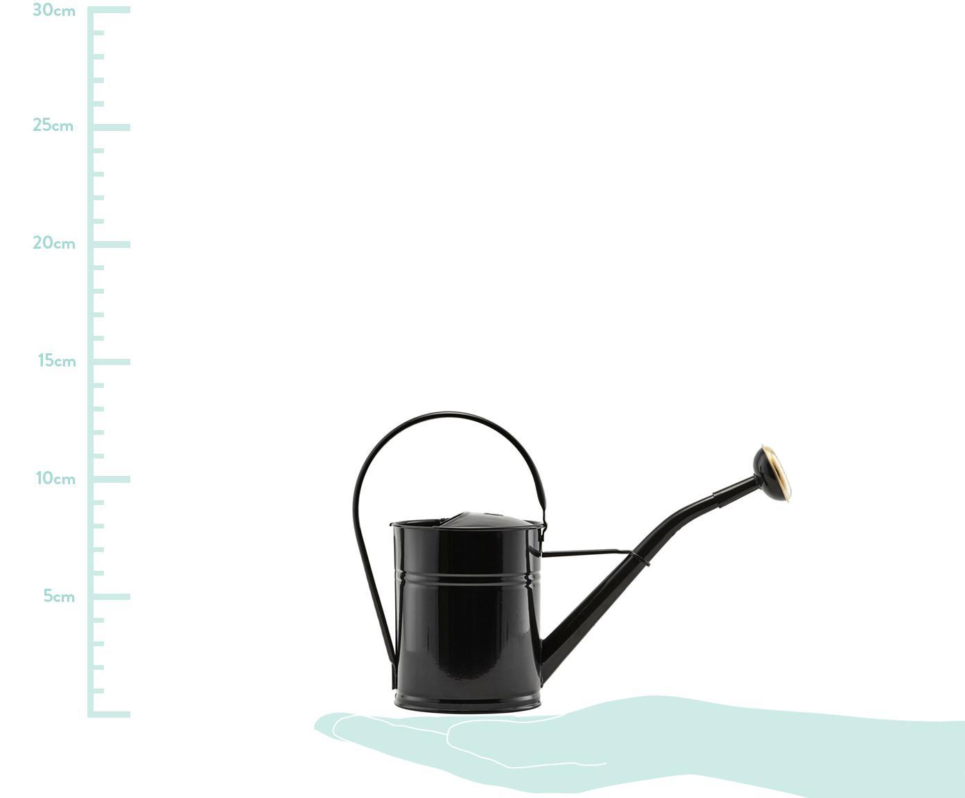 Gießkanne Granny, Metall, lackiert, Schwarz, Messingfarben, 13 x 25 cm