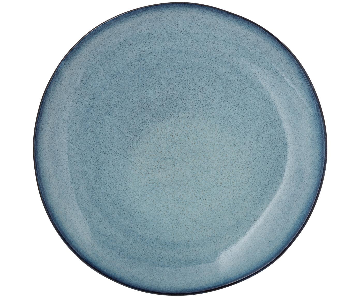 Ręcznie wykonany talerz obiadowy Sandrine, Ceramika, Odcienie niebieskiego, Ø 29 x W 3 cm