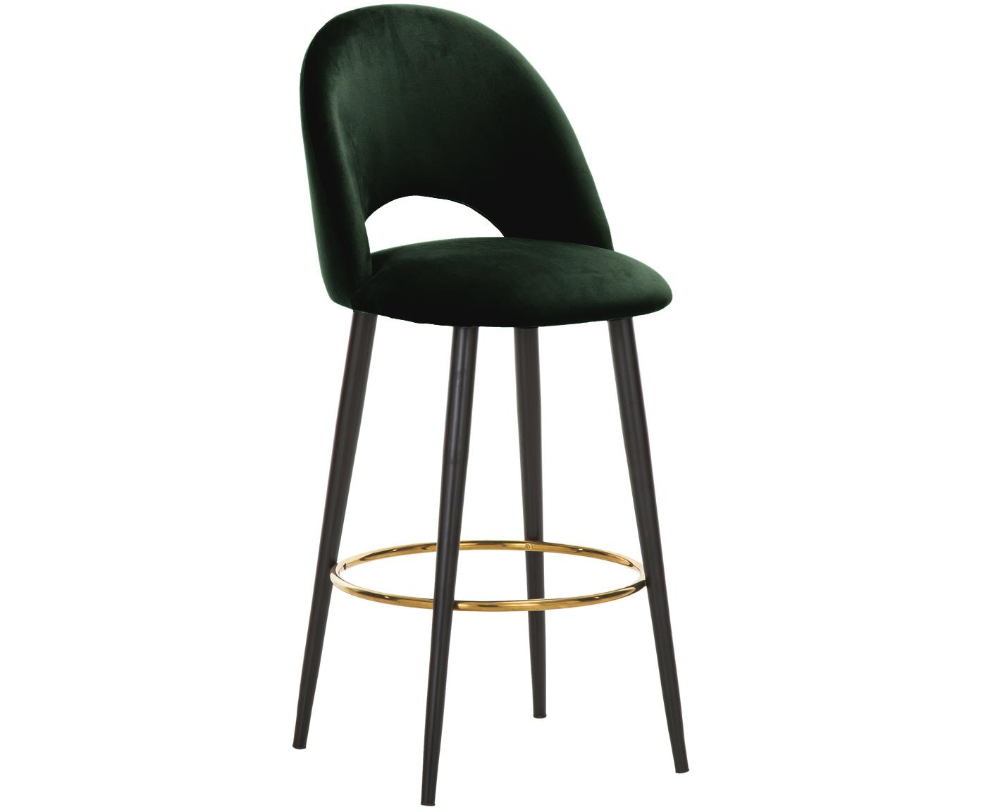 Sedia da bar in velluto Rachel, Rivestimento: velluto (poliestere) 50.0, Gambe: metallo verniciato a polv, Velluto verde scuro, Larg. 48 x Alt. 110 cm