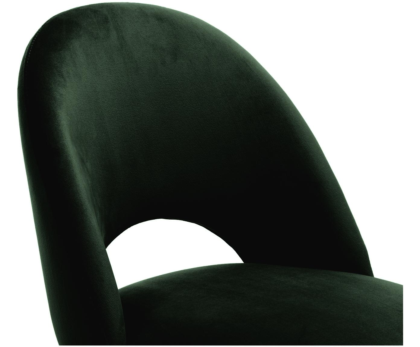 Samt-Barstuhl Rachel, Bezug: Samt (Polyester) 50.000 S, Beine: Metall, pulverbeschichtet, Samt Dunkelgrün, 48 x 110 cm