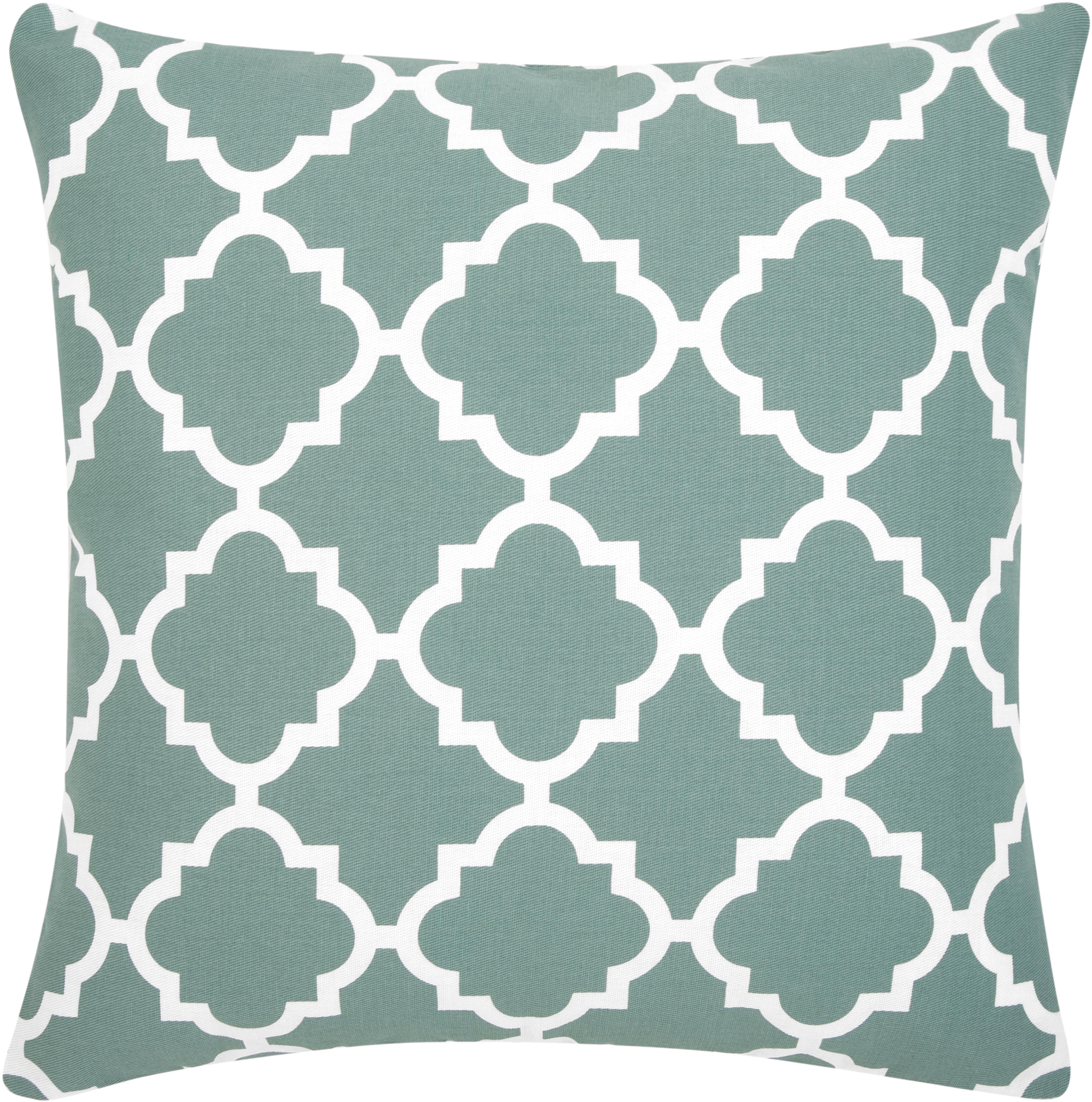 Kissenhülle Lana mit grafischem Muster, 100% Baumwolle, Salbeigrün, Weiss, 45 x 45 cm
