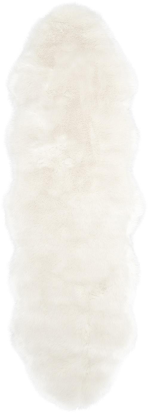 Vloerkleed van kunstvacht Mathilde, glad, Bovenzijde: 65% acryl, 35% polyester, Onderzijde: 100% polyester, Crèmekleurig, 60 x 180 cm