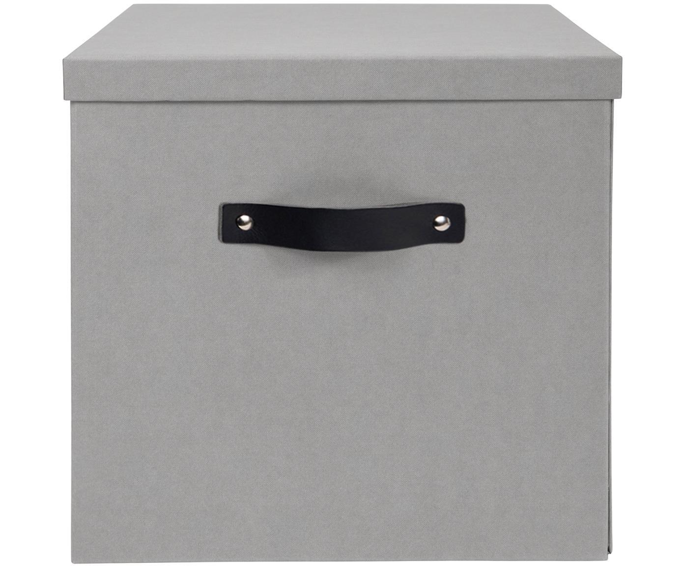 Caja Texas, Caja: cartón laminado, Asa: cuero, Gris claro, An 32 x Al 32 cm