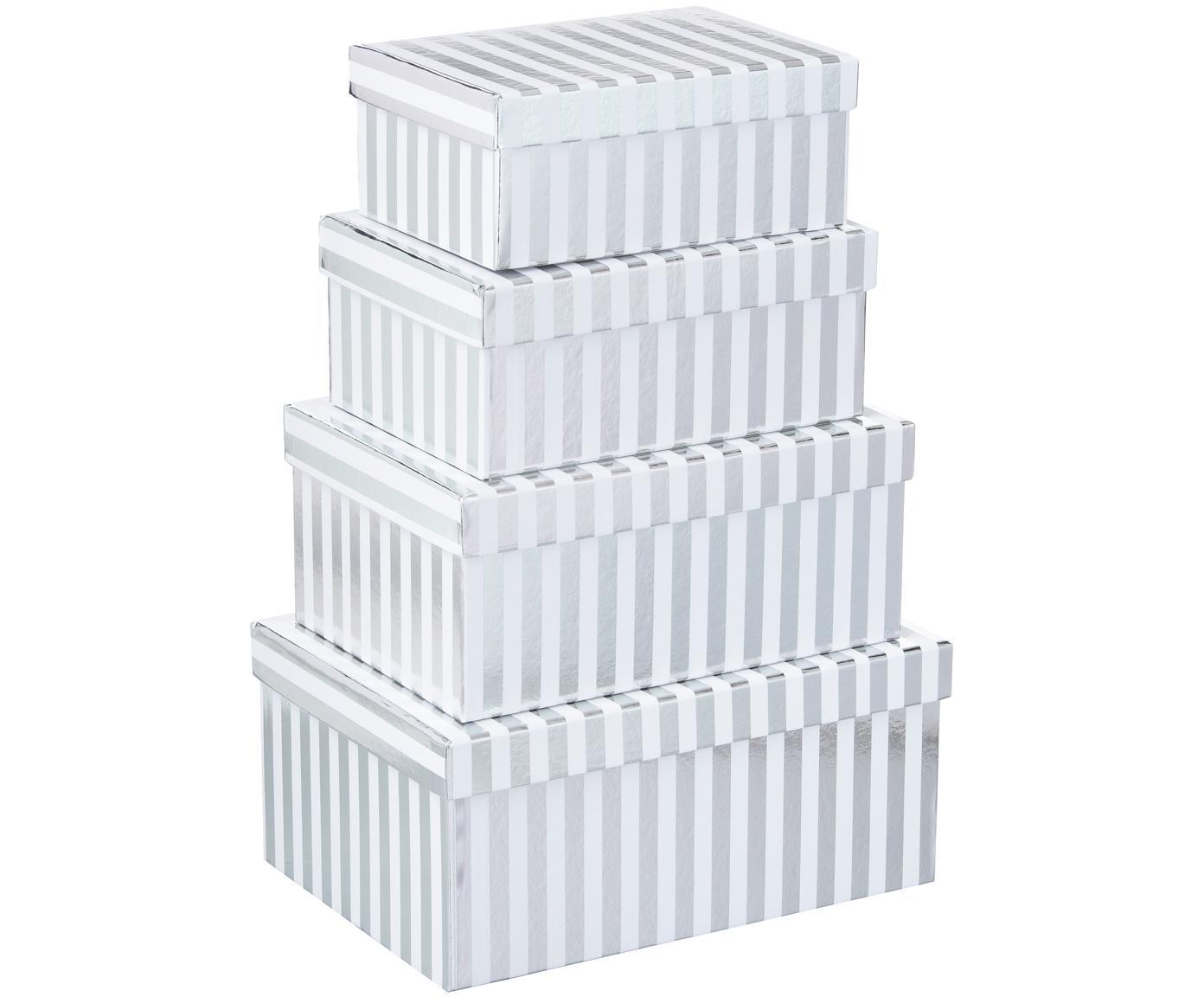 Set de cajas regalo Stripes, 4pzas., Cartón, Blanco, plateado, Tamaños diferentes