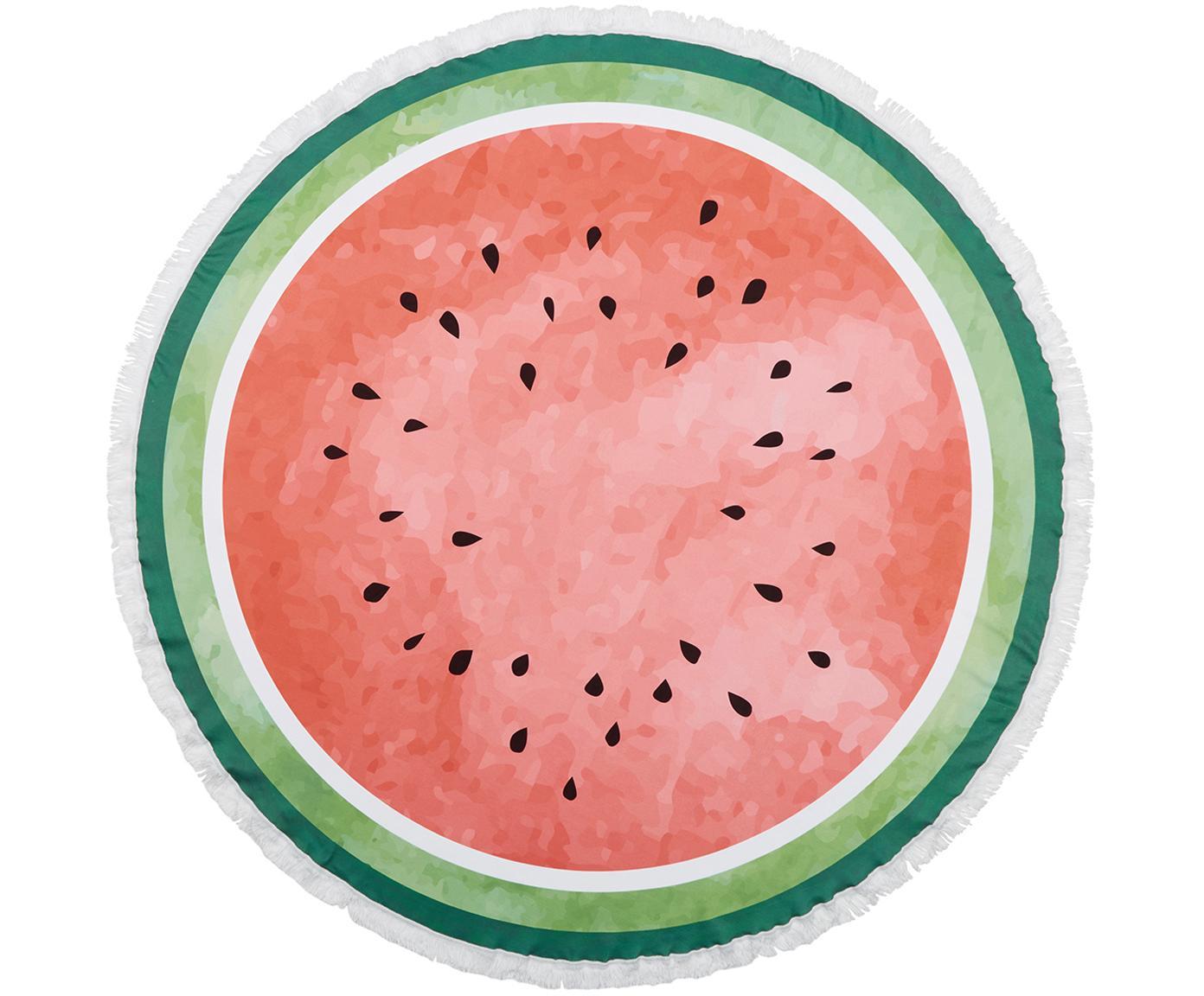 Rundes Strandtuch Melon, 55% Polyester, 45% Baumwolle Sehr leichte Qualität 340 g/m², Dunkgrün, Hellgrün, Rot, Ø 150 cm