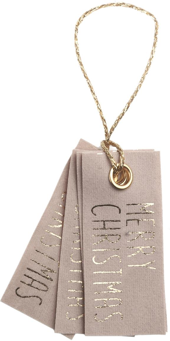 Geschenklabels Vellu, 6 stuks, 50% polyester, 40% rayon, 10% bindmiddel, Lichtbruin, goudkleurig, 3 x 7 cm