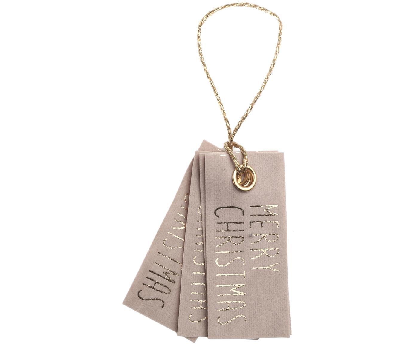 Geschenkanhänger Vellu, 6 Stück, 50% Polyester, 40% Rayon, 10% Haftmittel, Hellbraun, Goldfarben, 3 x 7 cm