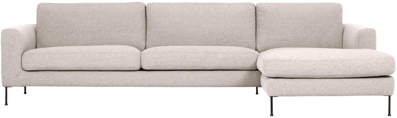 Canapé d'angle 4 places Cucita, Tissu beige