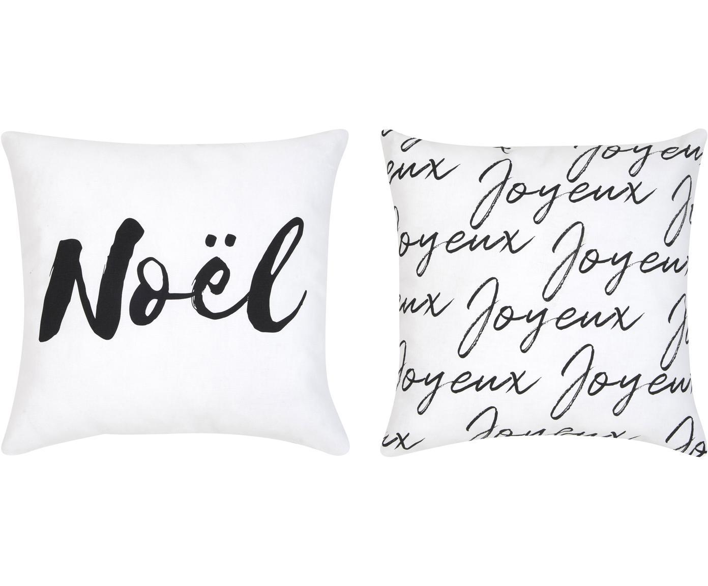 Komplet poszewek na poduszkę Noel, 2 elem., Bawełna, Czarny, biały, S 40 x D 40 cm