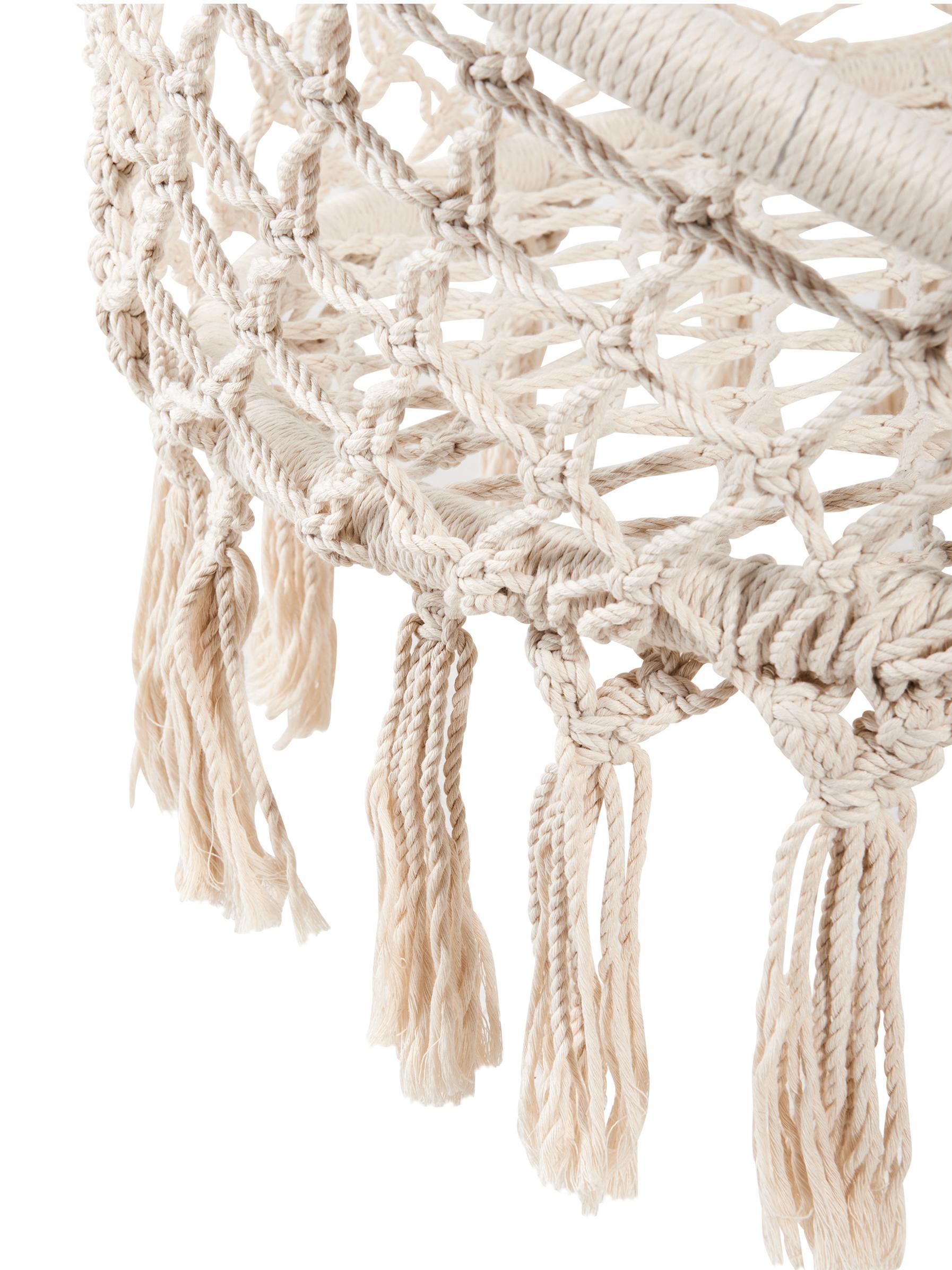 Hängesessel Paradise Now mit Fransen, Sitzfläche: Baumwolle, Polyester, Gestell: Stahl, beschichtet, Creme, Ø 100 x H 145 cm