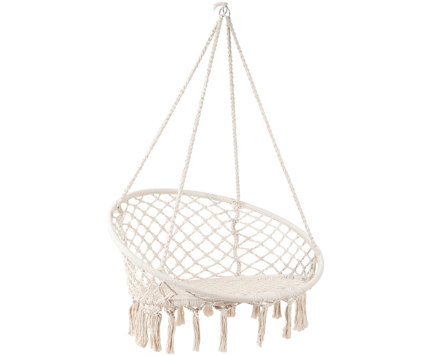 Silla hamaca Paradise Now, Asiento: algodón, poliéster, Estructura: acero recubierto, Crema, Ø 100 x Al 145 cm
