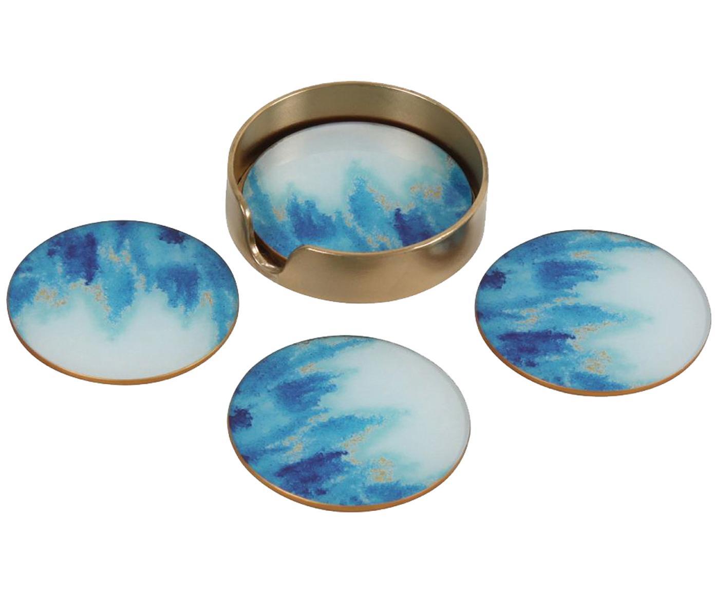 Glas Untersetzer Stardust, 5er-Set, Vorderseite: Glas, Rückseite: Kork Halterung, Metall, b, Blau, Weiß, Ø 11 cm
