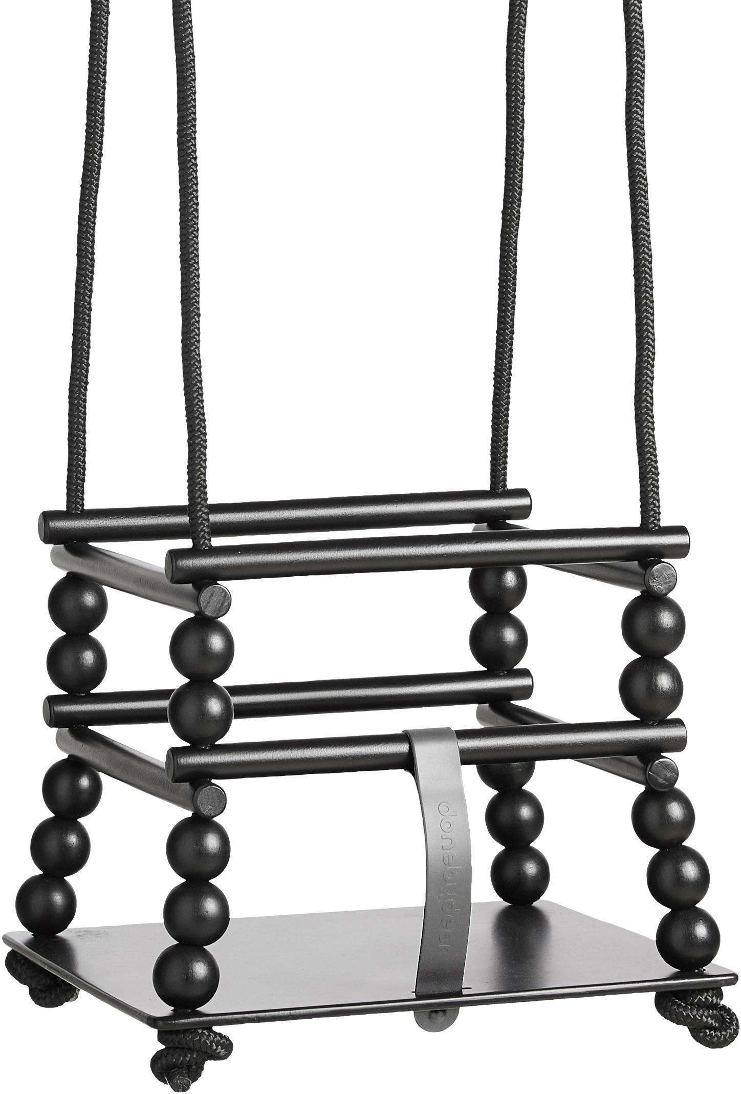 Holz-Schaukel Black, Schwarz, 32 x 120 cm