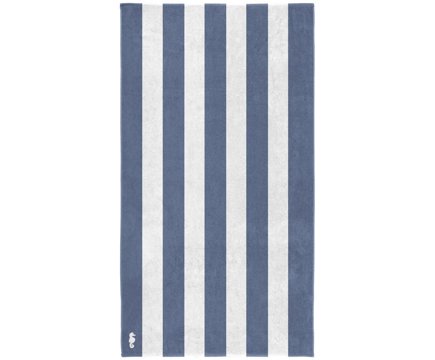 Strandlaken Vamos, Egyptisch katoen, middelzware kwaliteit 420 g/m², Blauw, wit, 100 x 180 cm