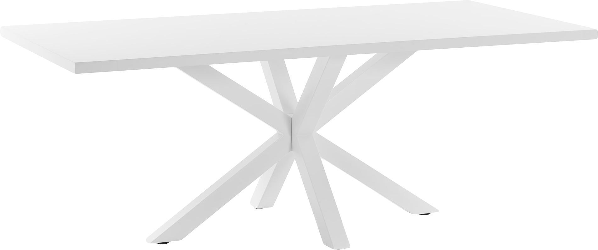 Esstisch New-Arya in Weiss, Tischplatte: Mitteldichte Holzfaserpla, Gestell: Metall, lackiert, Weiss, B 160 x T 100 cm