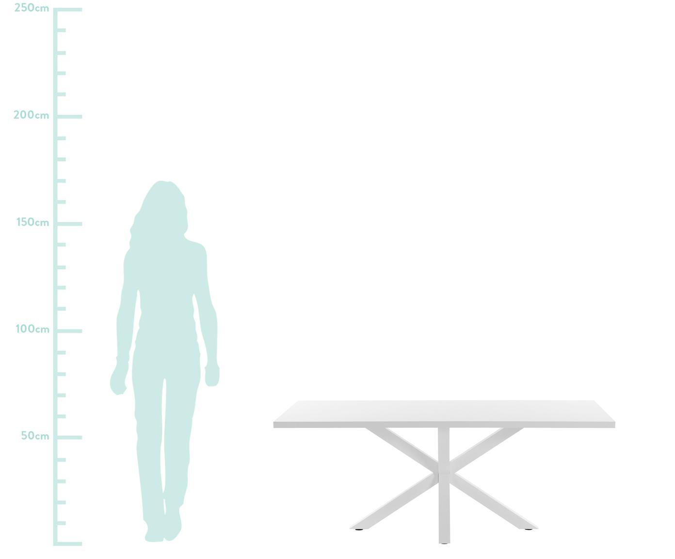 Table blanche en bois et métal New-Arya, Blanc