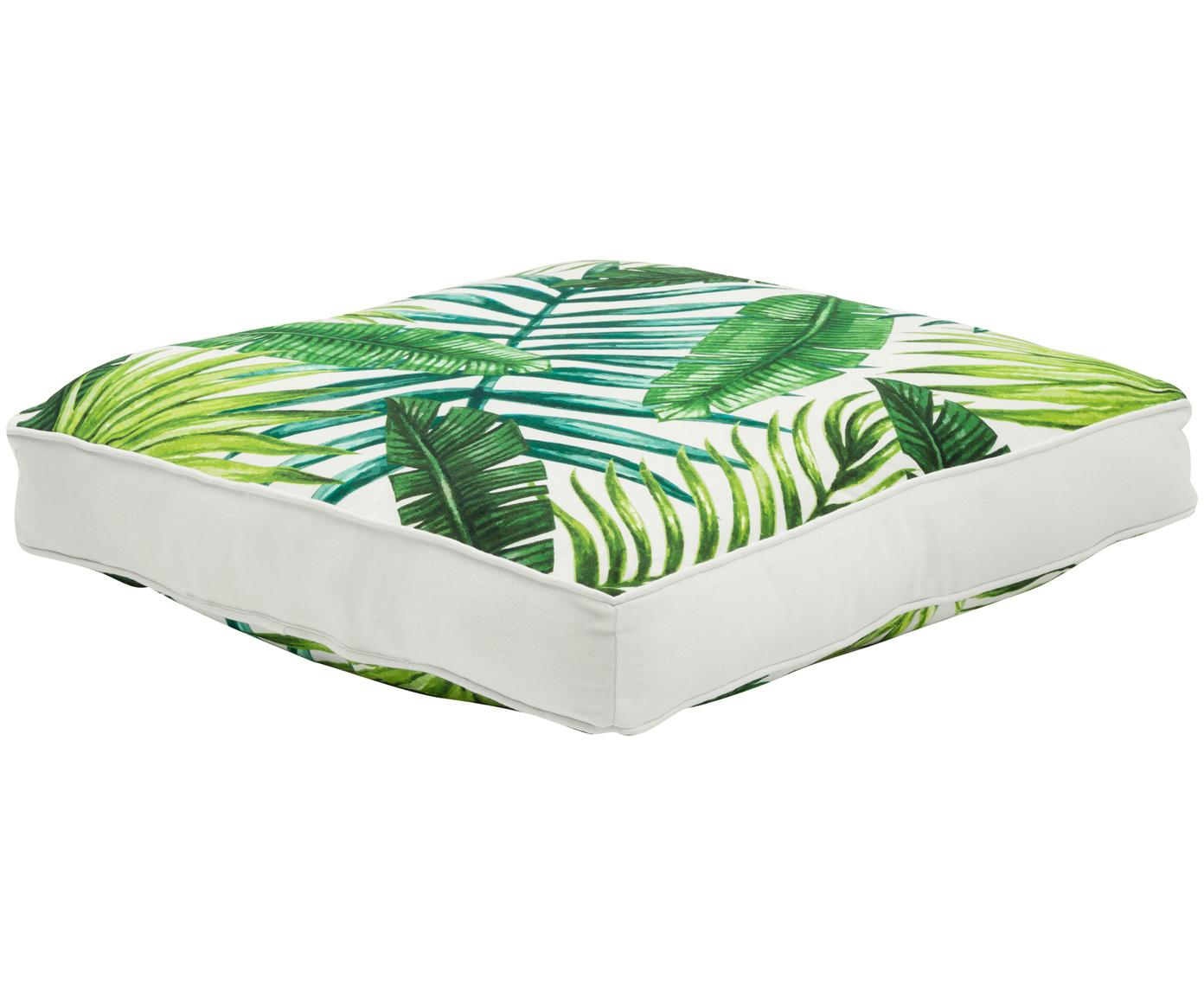 Cojín de asiento Jonna, Funda: 100%algodón, Verde, blanco crema, An 40 x L 40 cm