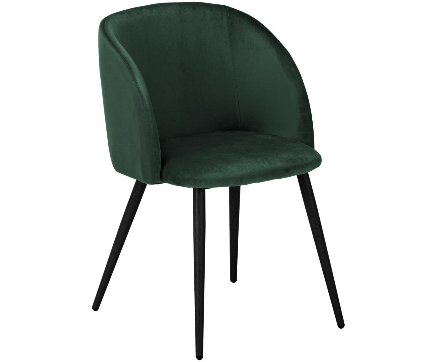 Krzesło tapicerowane z aksamitu Yoki, 2 szt., Tapicerka: aksamit (poliester) 2000, Nogi: metal malowany proszkowo, Tapicerka: ciemnozielony Nogi: czarny, matowy, S 53 x G 57 cm