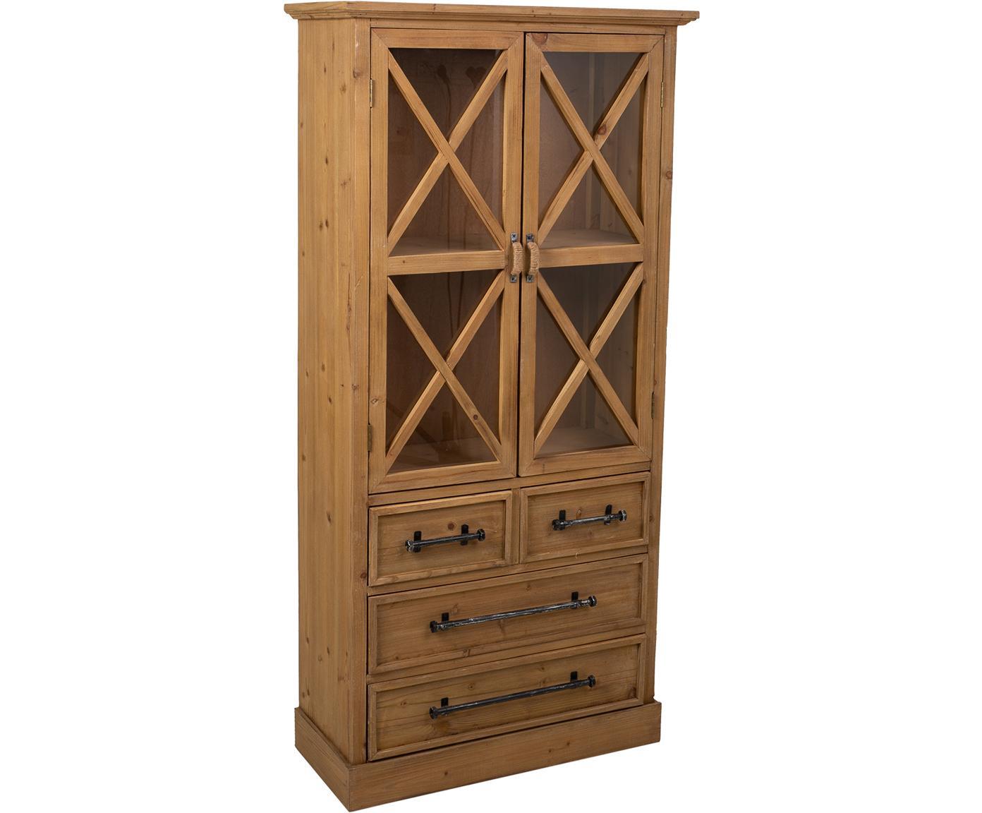 Vitrina Genni, Estructura: madera de abeto, madera c, Marrón, An 75 x Al 155 cm
