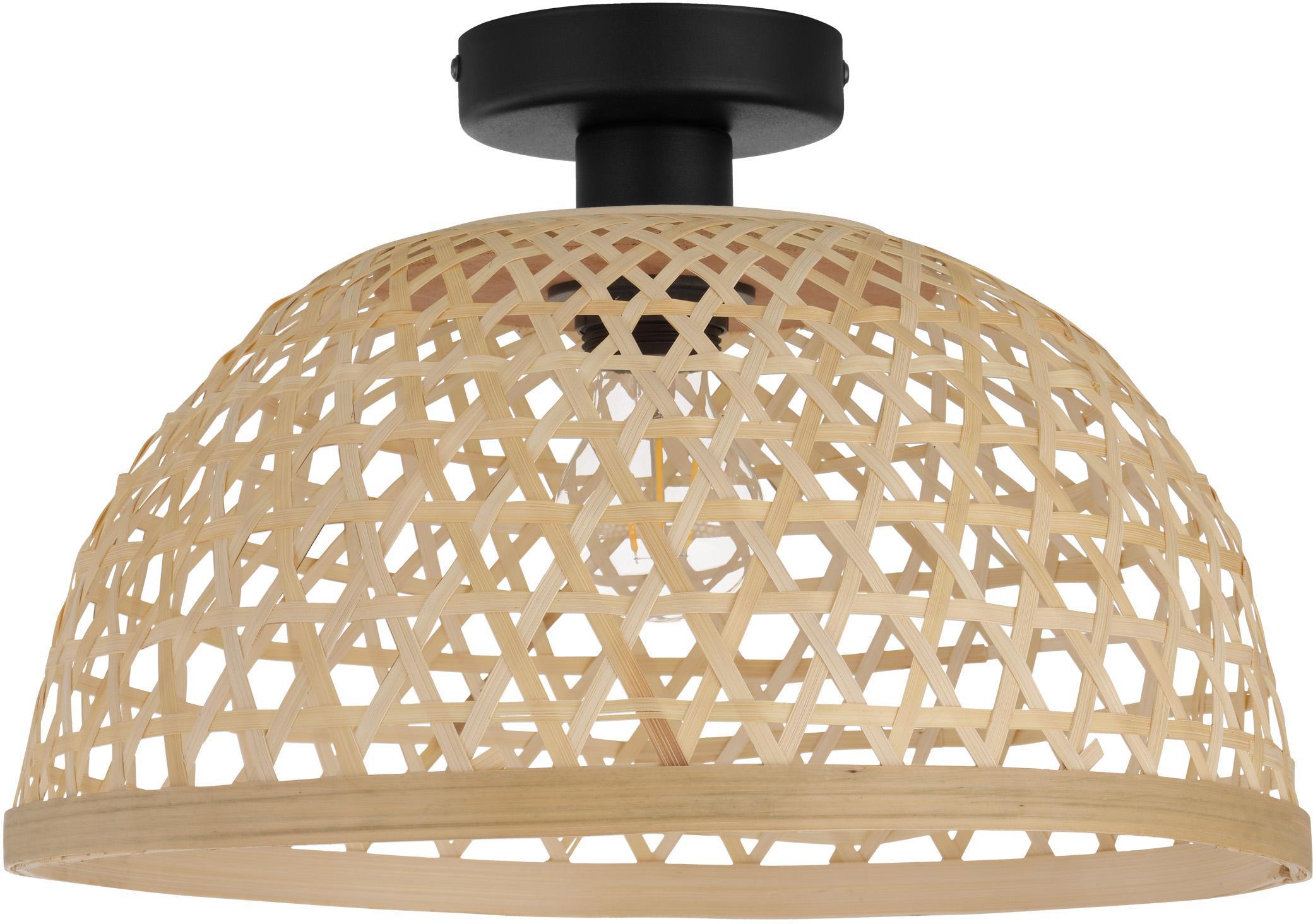 Plafoniera in bambù Claverdon, Paralume: legno di bambù, Baldacchino: metallo verniciato, Marrone chiaro, Ø 37 x Alt. 25 cm