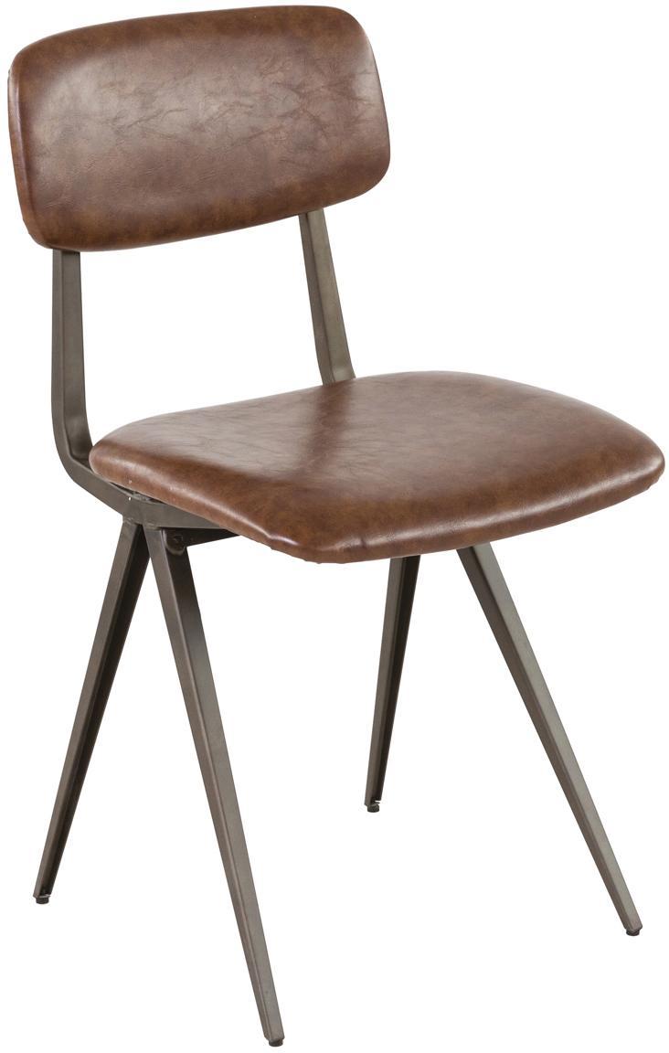 Sillas Arthur, 2uds., Estructura: metal crudo oscuro, Tapizado: poliuretano (cuero sintét, Marrón, An 42 x P 44 cm