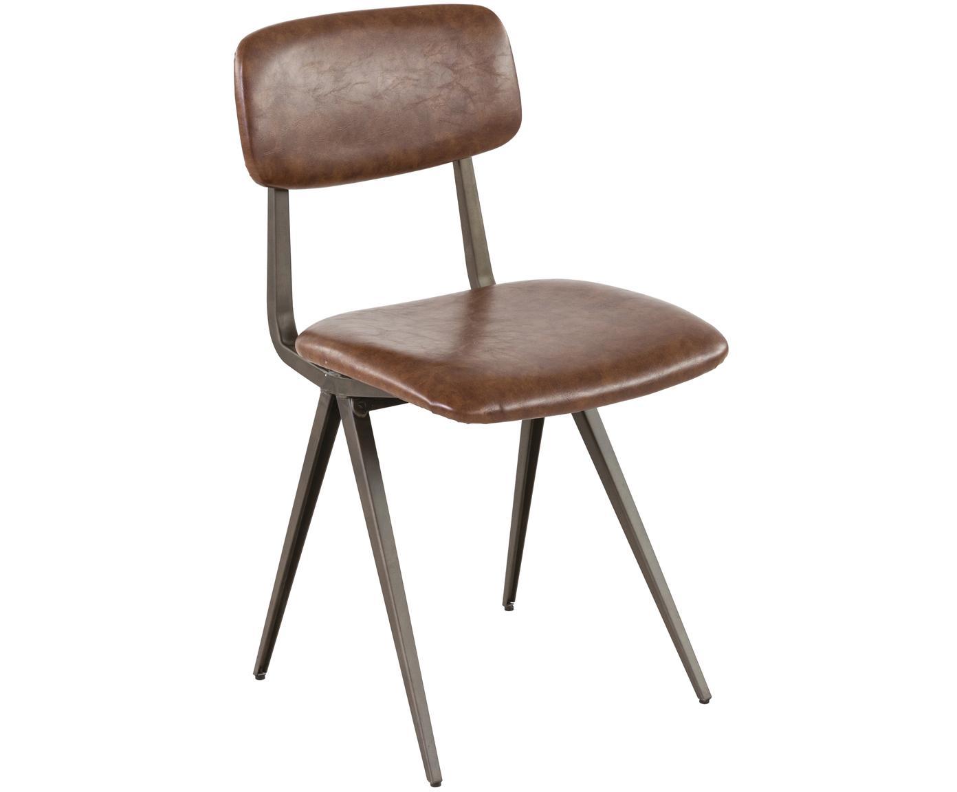 Kunstleder-Stühle Arthur, 2 Stück, Gestell: Dunkles Rohmetall, Bezug: Polyurethan (Kunstleder), Braun, B 42 x T 44 cm