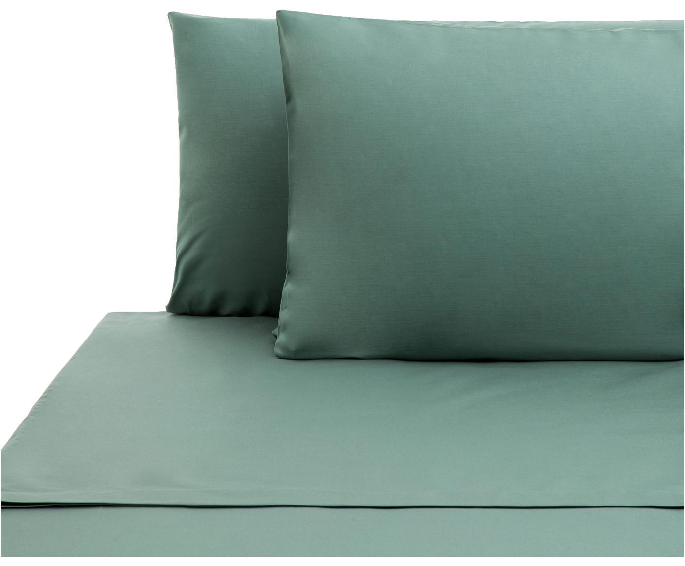 Set lenzuola in cotone ranforce Lenare 2 pz, Tessuto: Renforcé, Fronte e retro: verde reseda, 180 x 290 cm