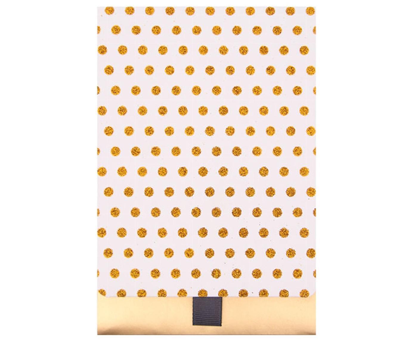 Buste regalo Glitter Dots, 2 pz., Carta, Dorato, bianco, Larg. 13 x Alt. 18 cm