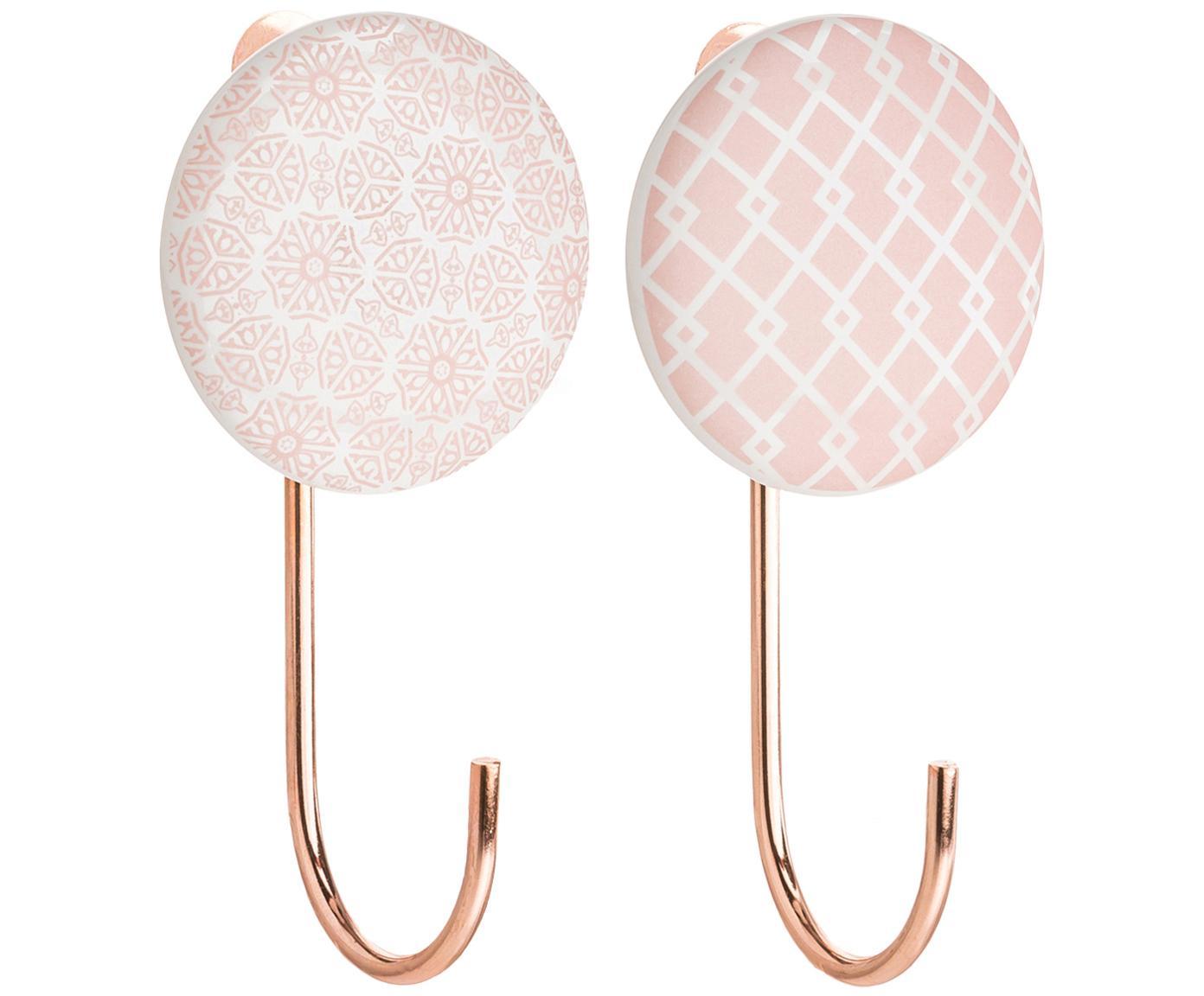 Set 2 ganci appendiabiti in ceramica Ariola, Gancio appendiabiti da parete: rosa, crema Dettagli: color rame, Lung. 11 x Larg. 6 cm