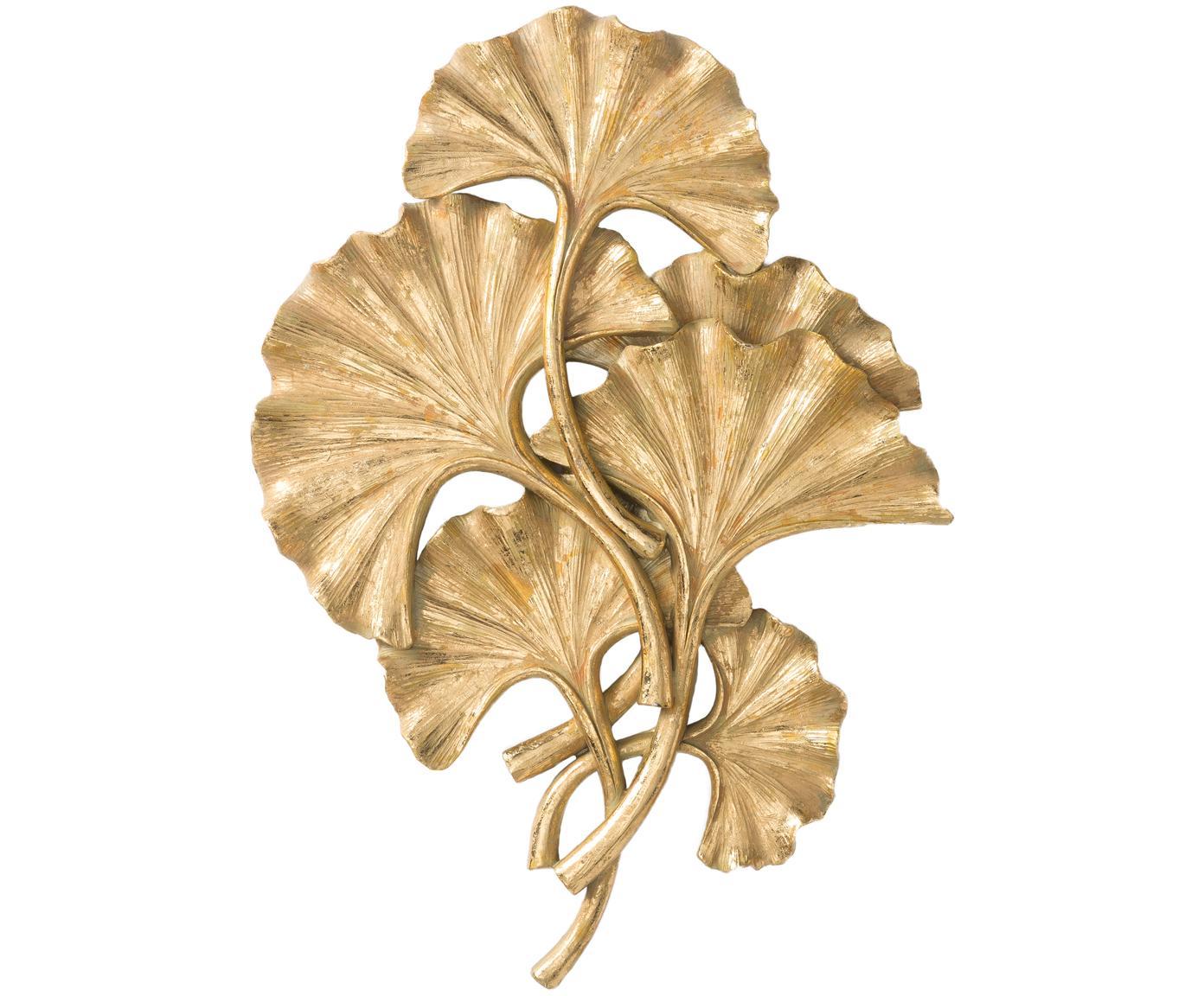 Dekoracja ścienna z poliresingu Ginkgo, Poliresing, Odcienie złotego, S 28 x W 39 cm