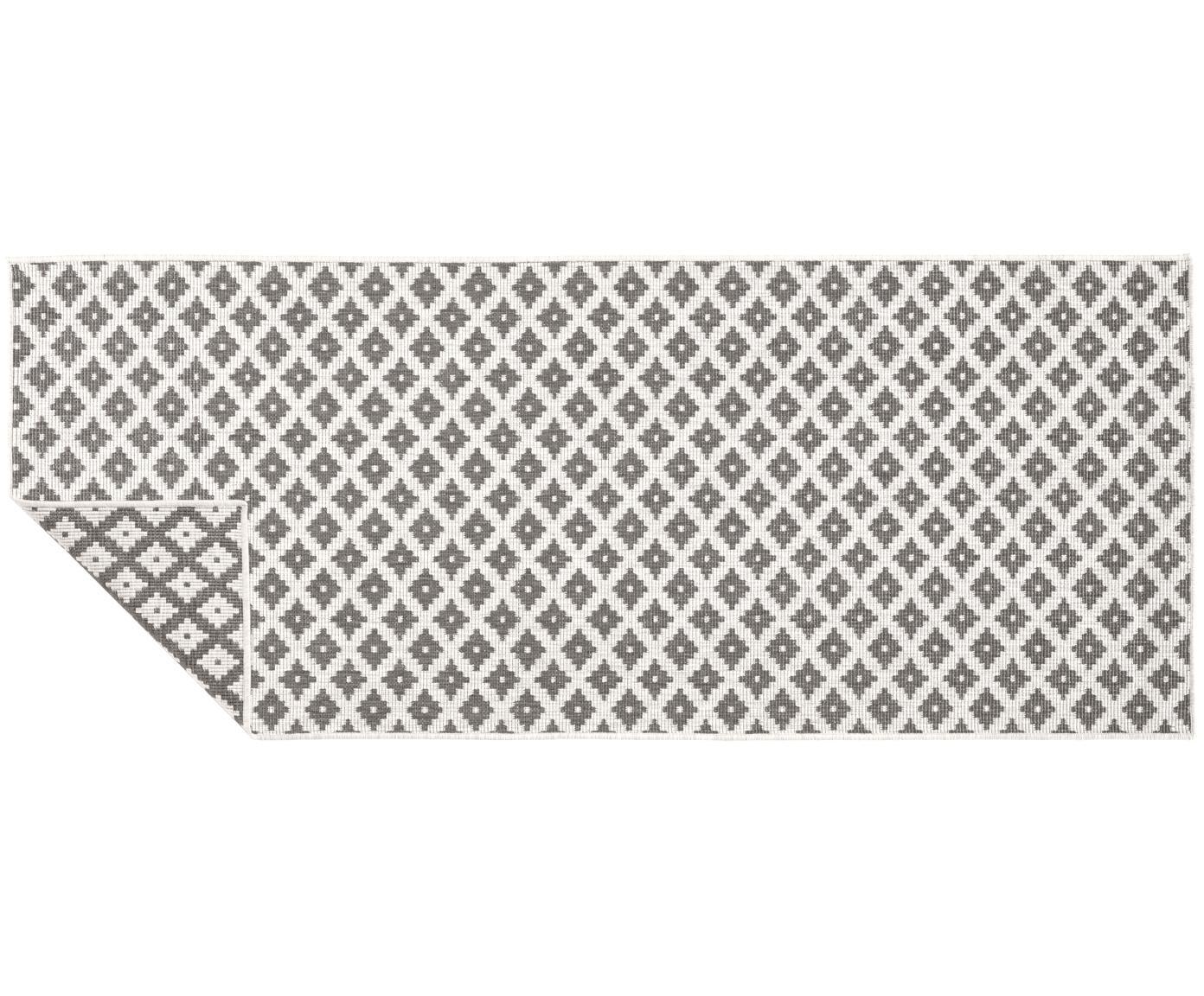 Dubbelzijdige in- & outdoor loper Nizza, Grijs, crèmekleurig, 80 x 250 cm