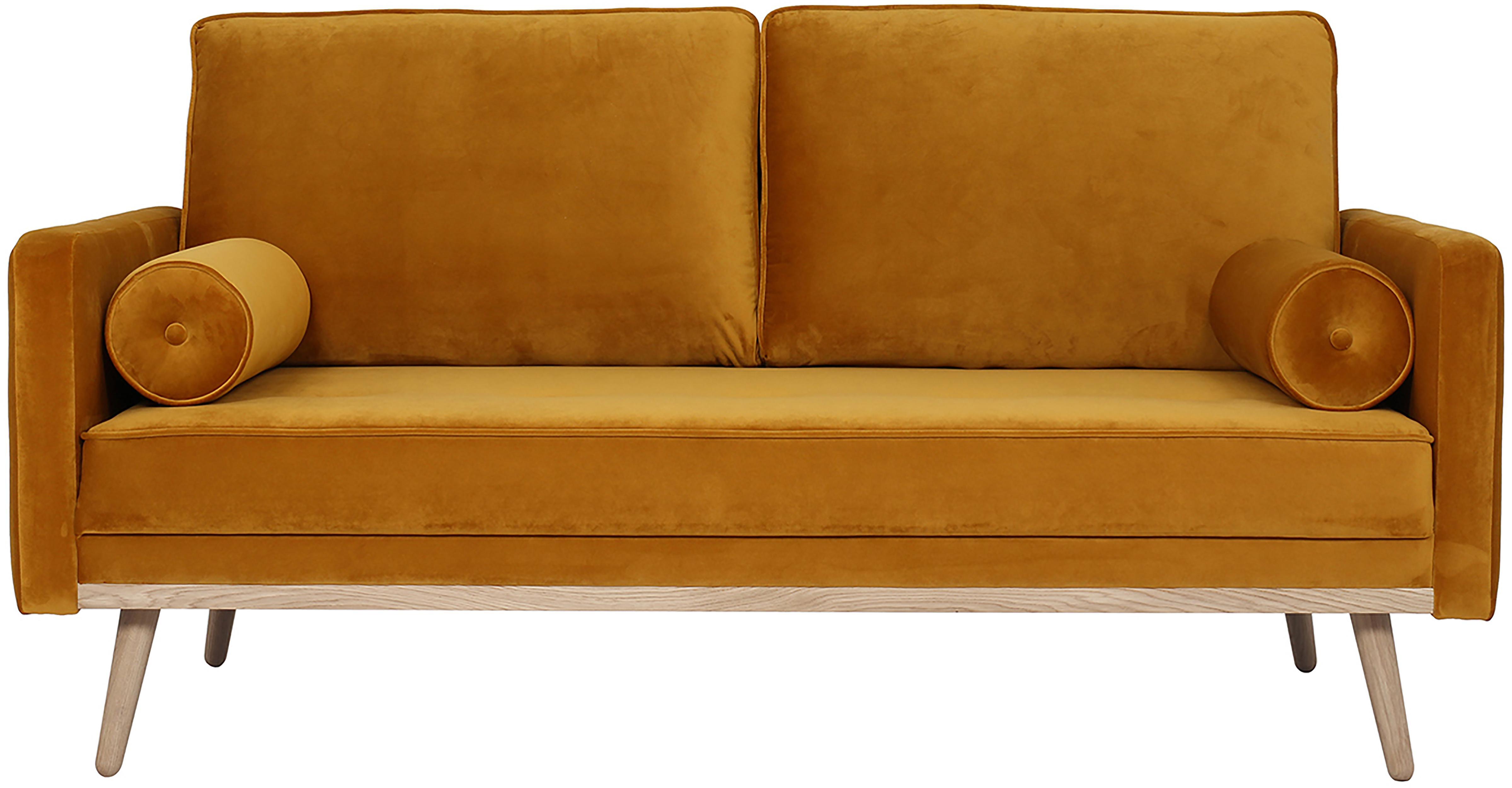 Samt-Sofa Saint (2-Sitzer), Bezug: Samt (Polyester) Der hoch, Gestell: Massives Eichenholz, Span, Samt Senfgelb, B 169 x T 87 cm